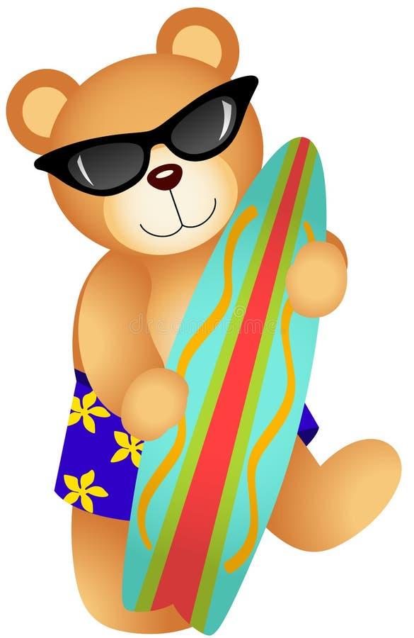 Teddy Bear praticante il surfing royalty illustrazione gratis