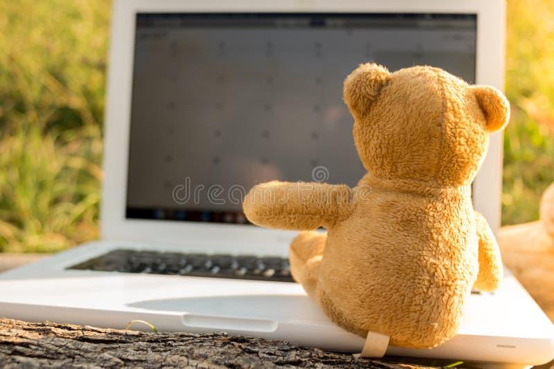 Teddy Bear que se sienta en un cuaderno imagen de archivo
