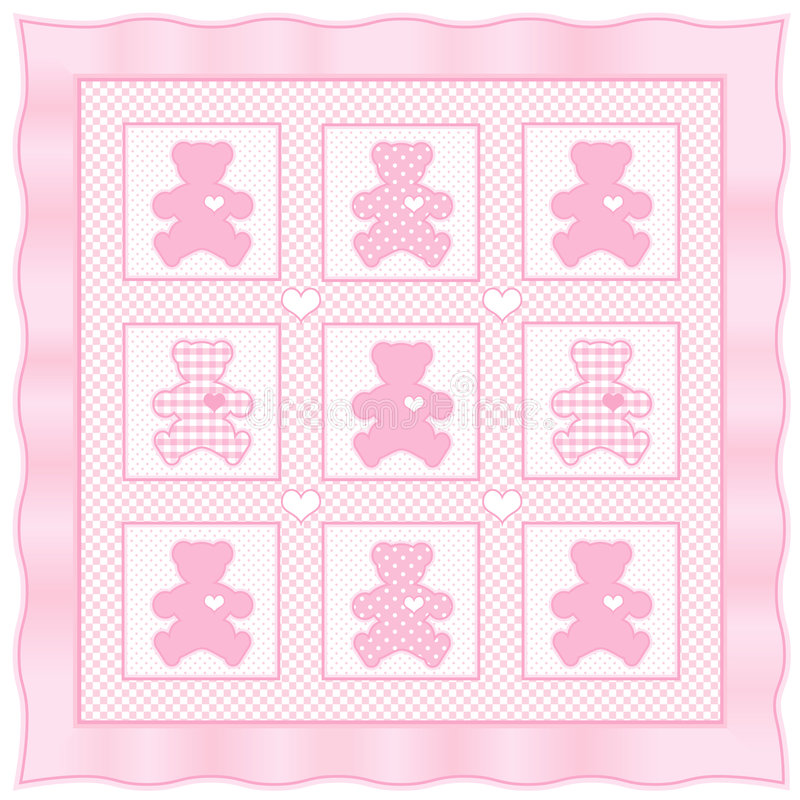 Download Teddy Bear Quilt, Pastel Baby Pink Stock Vector - Image: 5701393