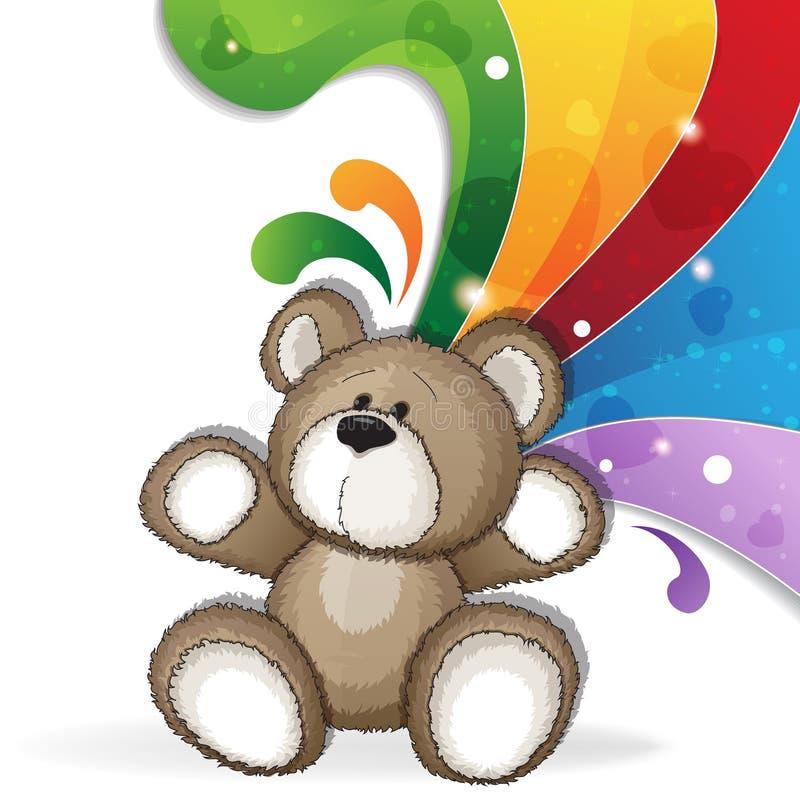 Teddy bear with rainbow stock illustration