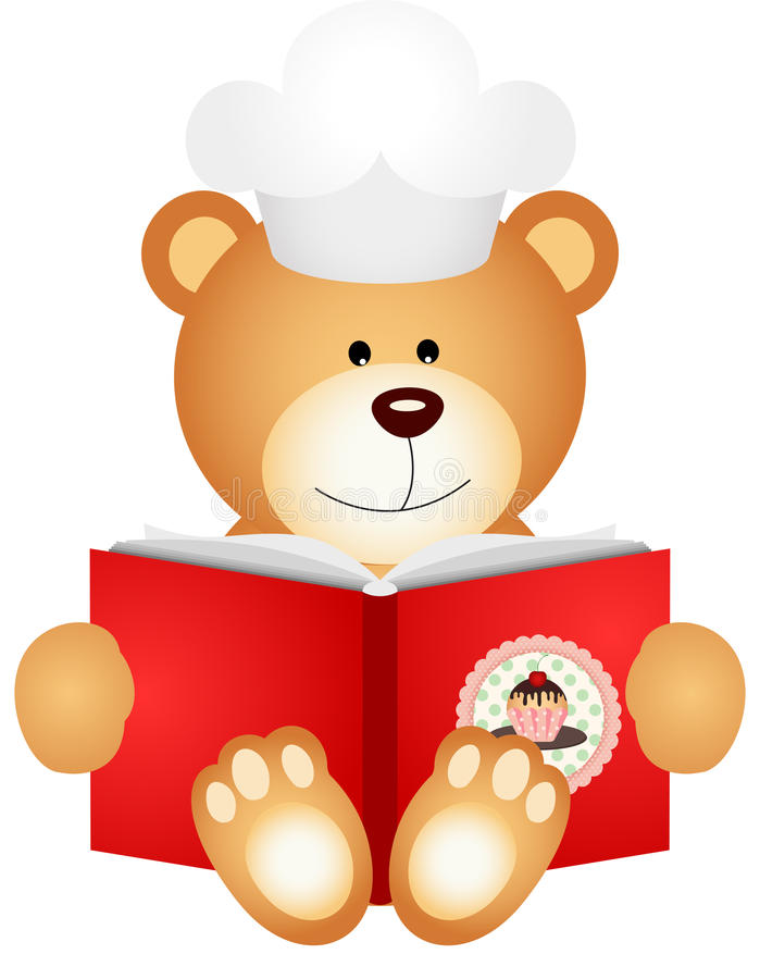 Teddy bear reading cookbook. Scalable vectorial image representing a teddy bear reading cookbook, isolated on white stock illustration