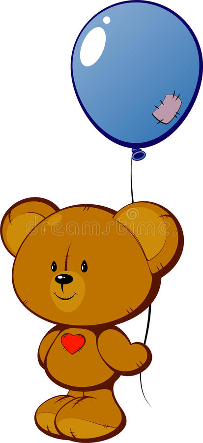 Download Teddy Bear With Red Heart And Balloon Stock Vector - Image: 17333447