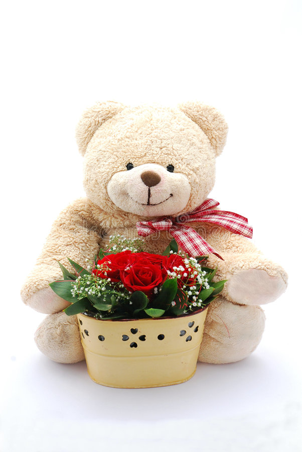 Teddy bear with red roses stock illustration. Illustration of cute ...