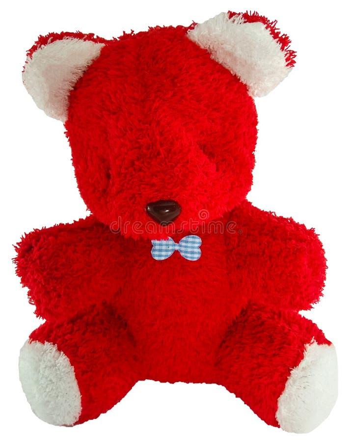 Teddy Bear rouge avec le ruban bleu d'isolement sur le fond blanc image stock