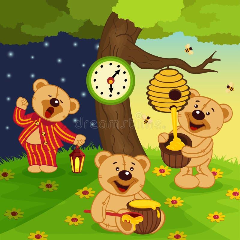 Teddy bear's daily routine. Vector illustration, eps stock illustration