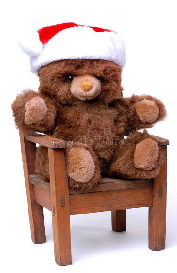 teddy bear with santa hat in chair stock photos image 1609623. Black Bedroom Furniture Sets. Home Design Ideas