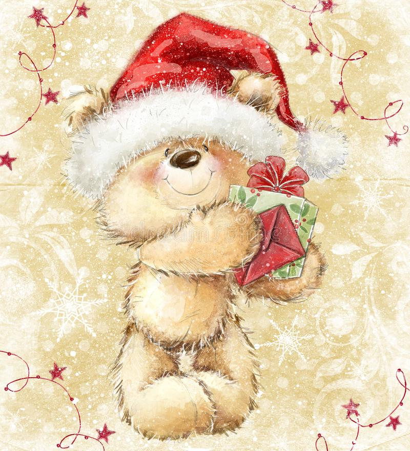 Teddy bear in Santa hat with gift and letter. vector illustration
