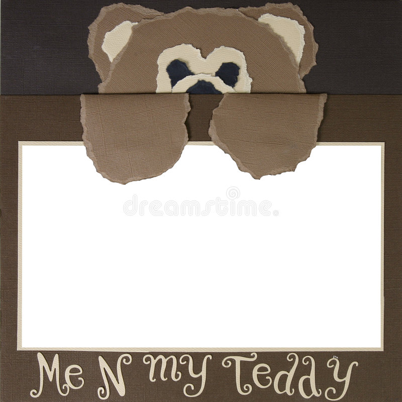 Teddy Bear Scrapbook Frame Template vector illustration