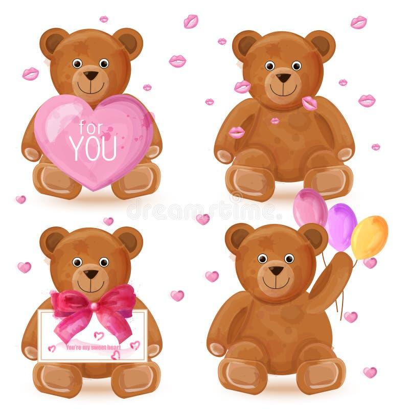 Teddy bear set Vector. Romantic cute cartoon bears lovely symbols in watercolor stock illustration