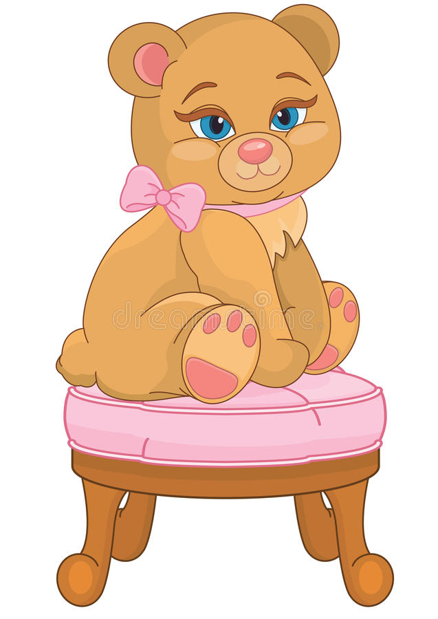 Download Teddy Bear Sitting On A Chair Stock Vector   Illustration Of  Birthday, Armchair: