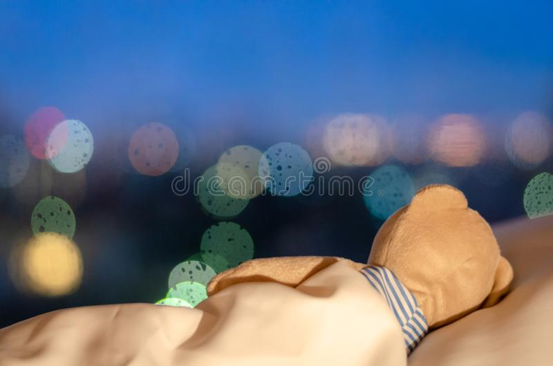 Teddy bear sleeping alone facing to window in the lonely night.  stock images