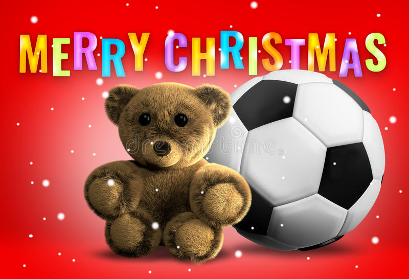 Teddy bear and soccer ball christmas 3d render vector illustration