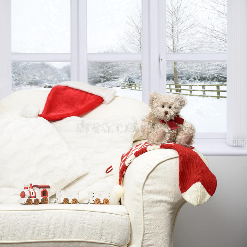 Teddy Bear On Sofa stock photography
