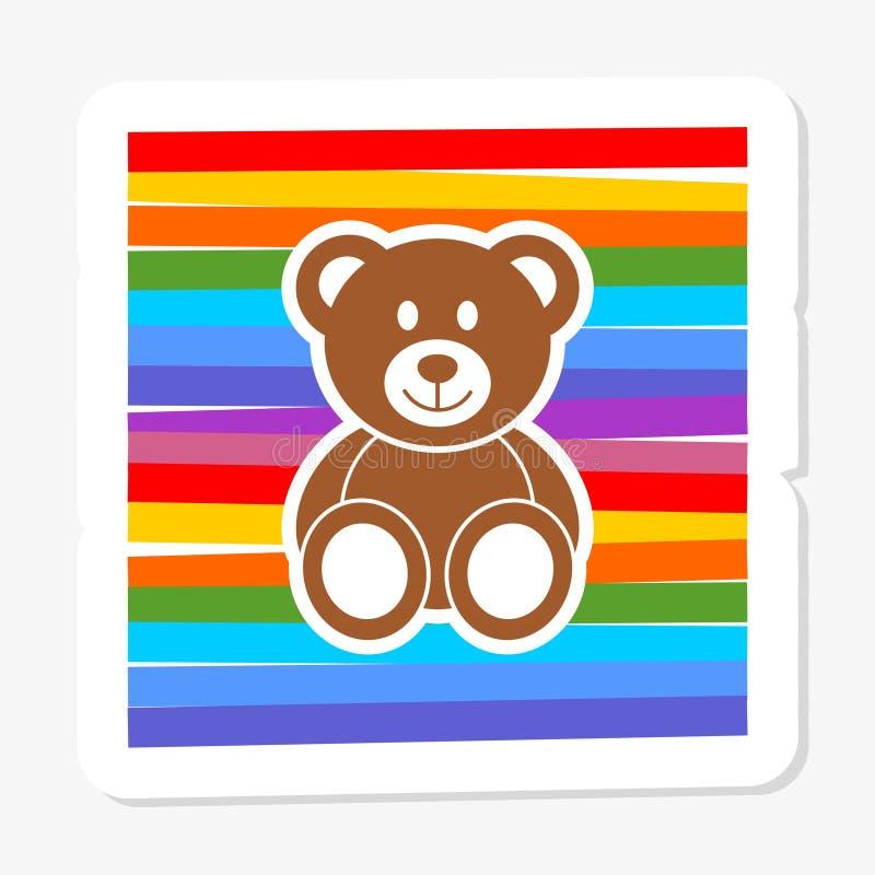 Teddy Bear sticker icon flat style illustration for web stock illustration