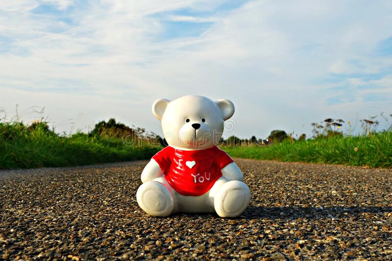 Teddy Bear On Stone Road Free Public Domain Cc0 Image