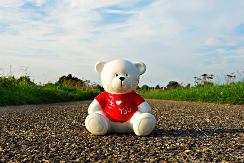 Teddy bear on stone road royalty free stock photos
