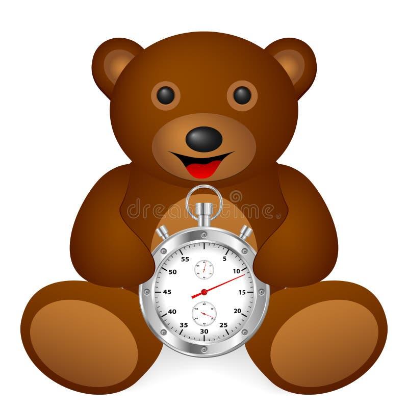 Teddy bear stopwatch royalty free illustration