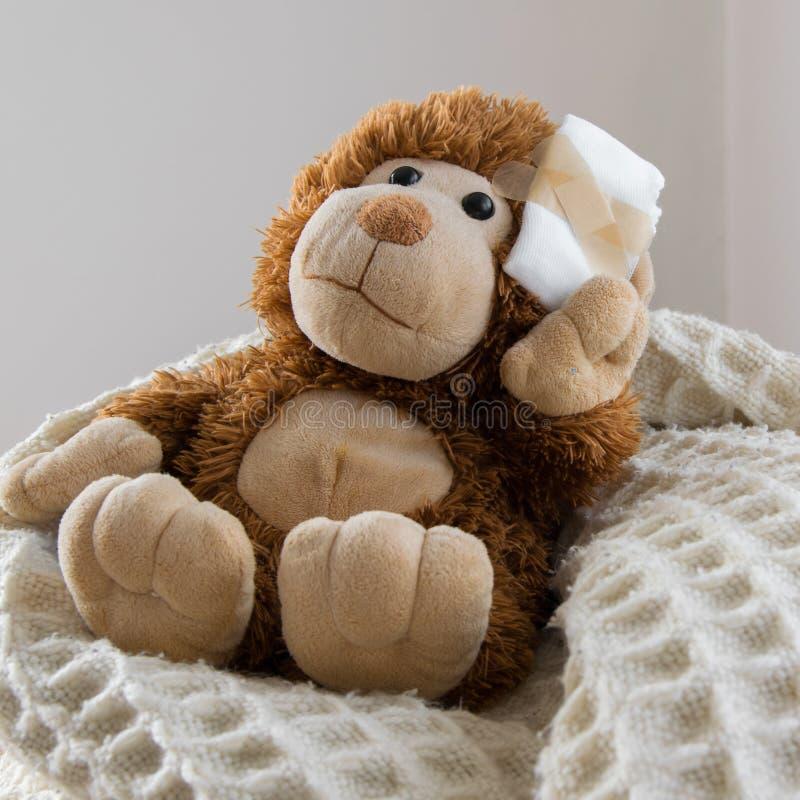 Teddy Bear-stuk speelgoed gewond in het hoofd Ongeval, gezondheidszorg royalty-vrije stock foto's