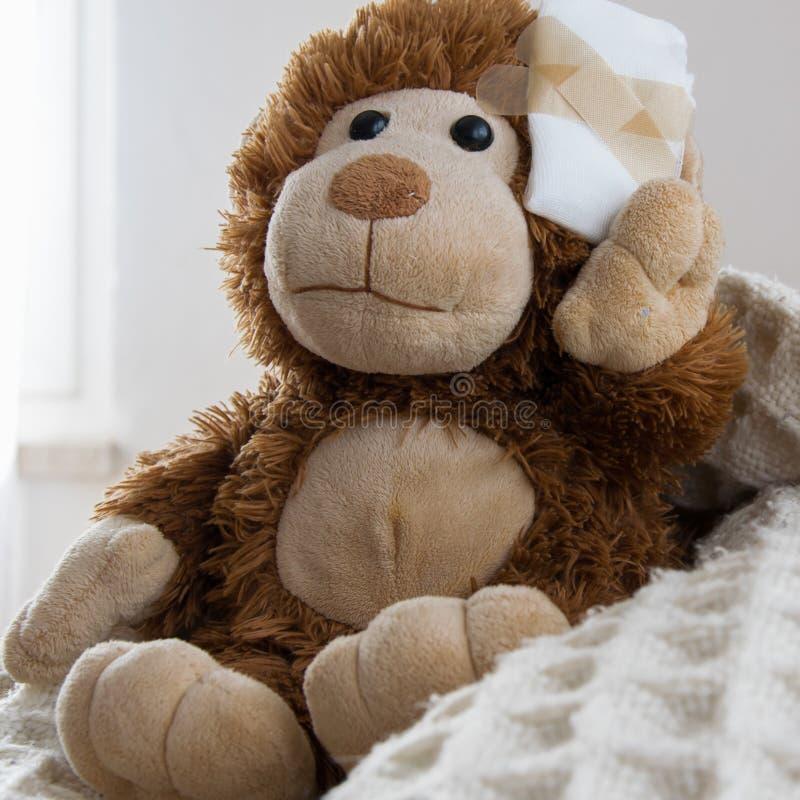 Teddy Bear-stuk speelgoed gewond in het hoofd Ongeval, gezondheidszorg stock foto's