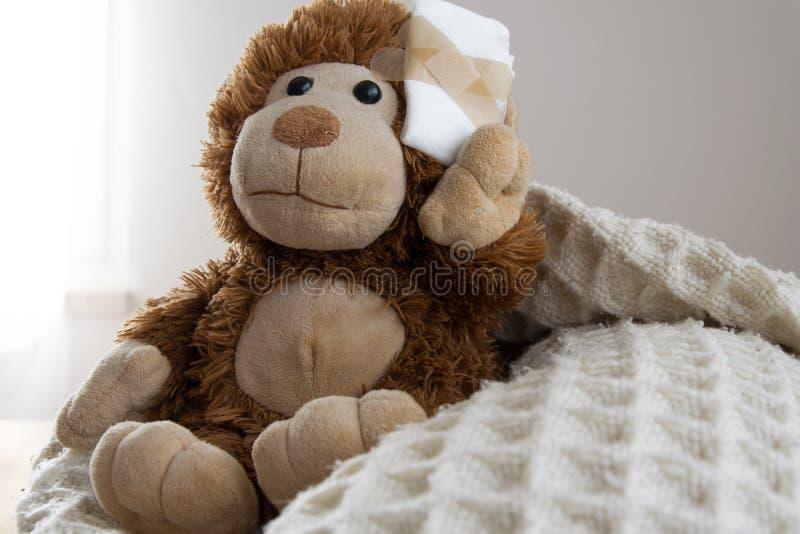 Teddy Bear-stuk speelgoed gewond in het hoofd Ongeval, gezondheidszorg stock afbeelding