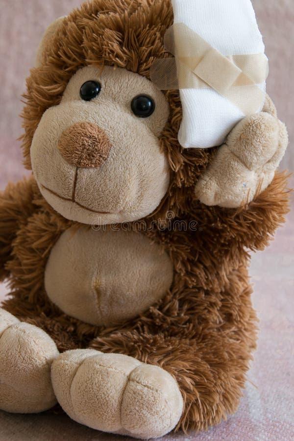 Teddy Bear-stuk speelgoed gewond in het hoofd Ongeval, gezondheidszorg royalty-vrije stock afbeelding