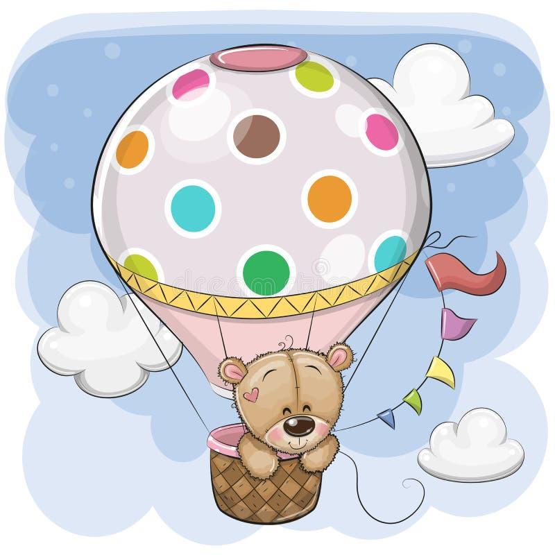 Teddy Bear sveglio sta volando su una mongolfiera illustrazione vettoriale