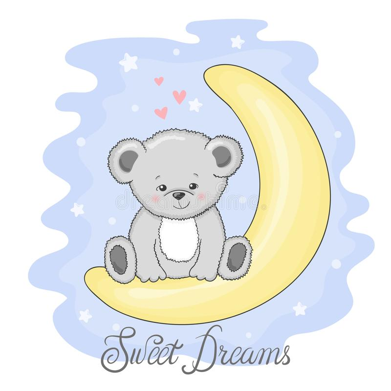 Teddy Bear sveglio sulla luna Sogni dolci royalty illustrazione gratis