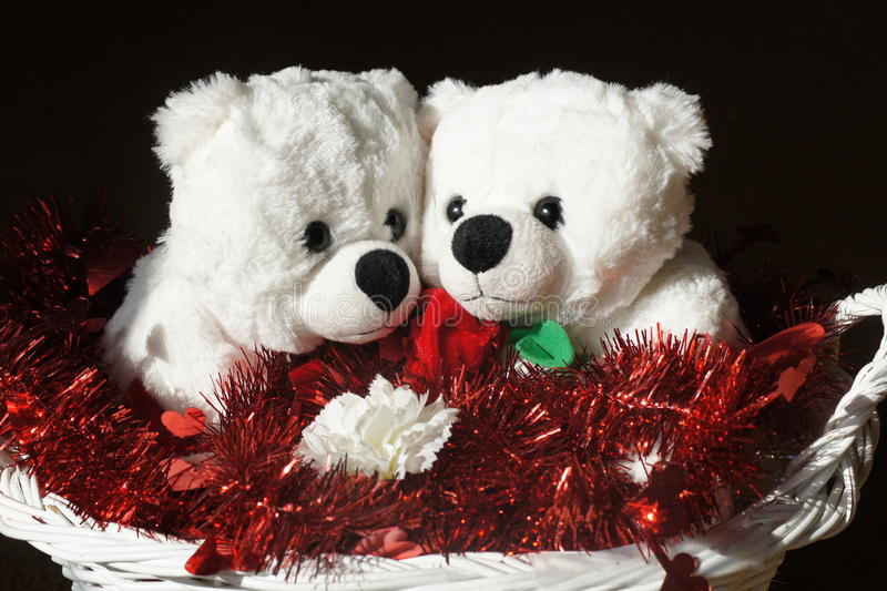 Teddy Bear Sweethearts. Two white teddy bear sweethearts in white basket royalty free stock images