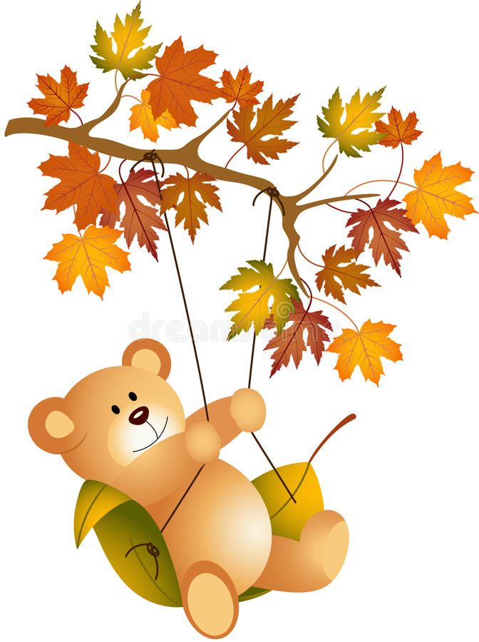 Teddy bear swinging on autumn tree branch vector illustration
