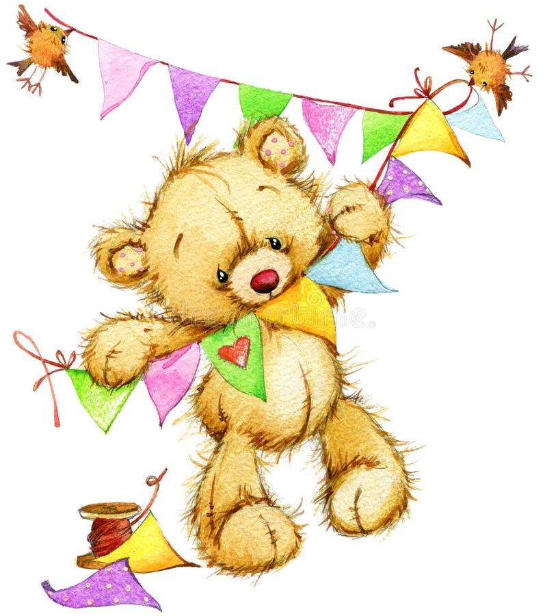 Teddy Bear Tarjeta de cumpleaños Ilustración de la acuarela stock de ilustración
