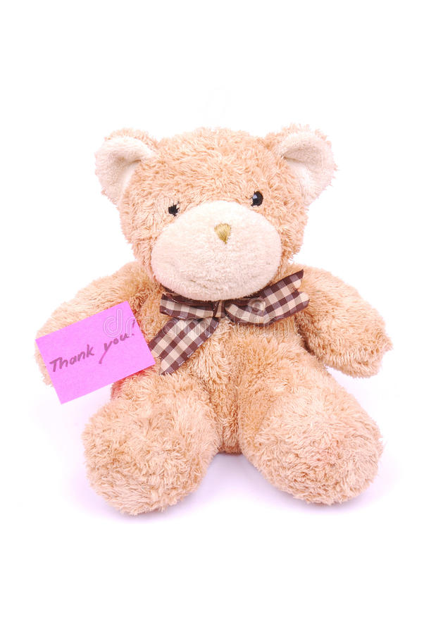 Teddy bear with thank you note