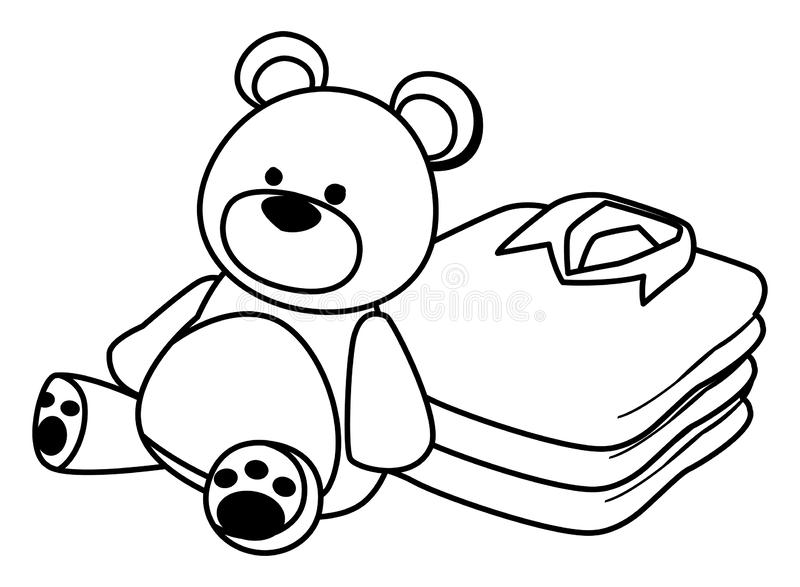 Teddy bear toy and folded clothes black and white. Teddy bear toy and folded clothes icon cartoon isolated black and white vector illustration graphic design royalty free illustration