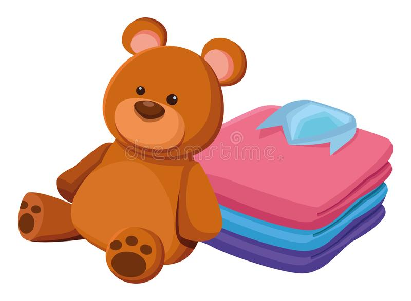 Teddy bear toy and folded clothes. Icon cartoon isolated vector illustration graphic design royalty free illustration