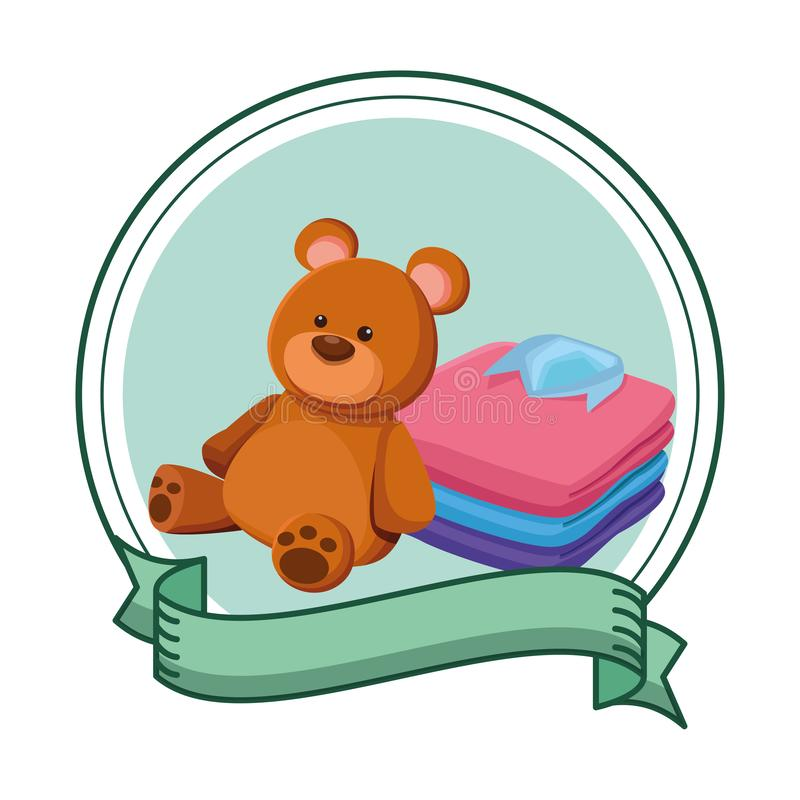 Teddy bear toy and folded clothes. Icon cartoon in round icon with ribbon royalty free illustration