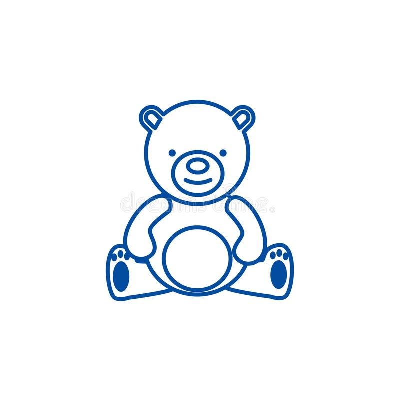 Teddy bear,toy line icon concept. Teddy bear,toy flat  vector symbol, sign, outline illustration. royalty free illustration