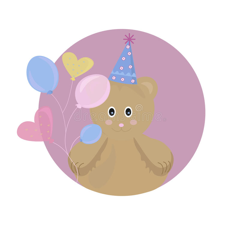 Teddy Bear toy Vector illustration cartoon character. funny background for kid s party, birthday or books stock illustration
