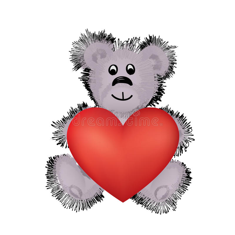 Free Teddy Bear Toy With Big Red Heart In Hands. I Love You Valentine Stock Image - 76213871