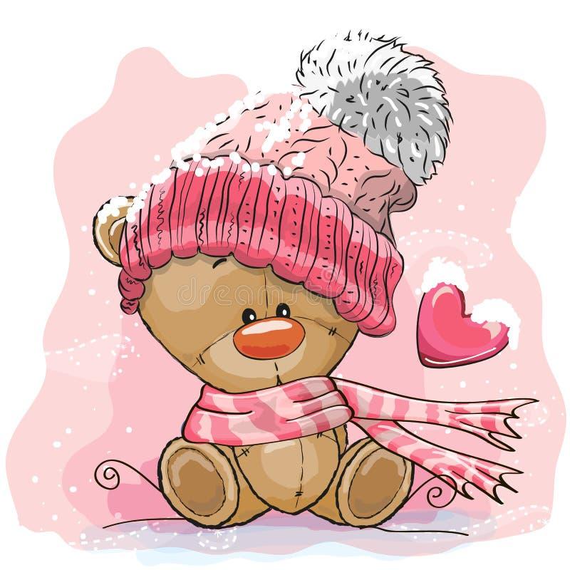 Teddy Bear in un cappuccio tricottato illustrazione di stock