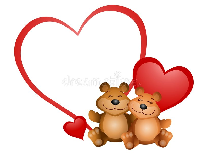 Teddy Bear Valentine 2. An illustration featuring two cute teddy bears cuddling with blank heart smiling vector illustration
