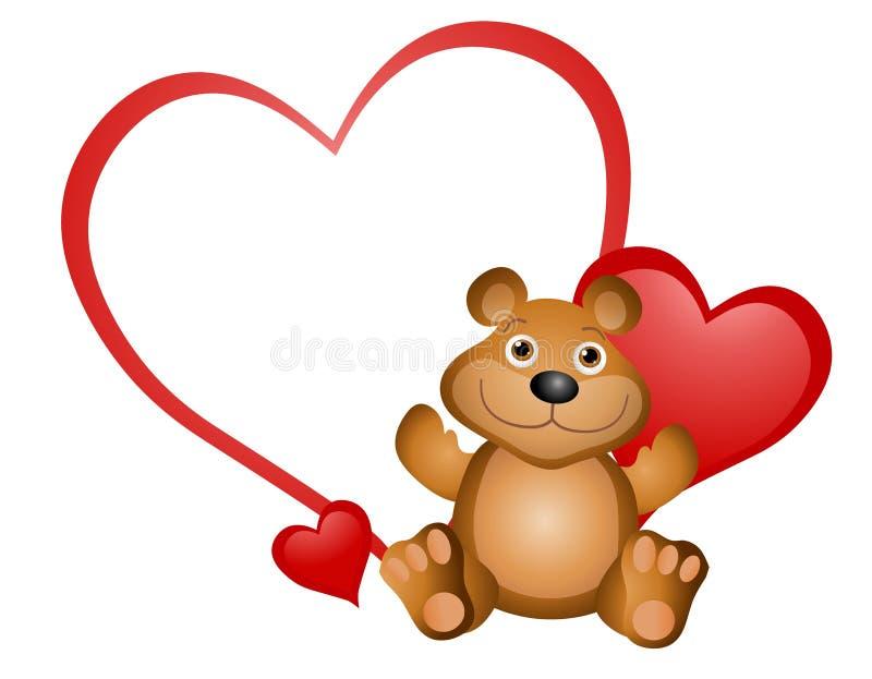 Teddy Bear Valentine. An illustration featuring a cute teddy bear with blank heart smiling stock illustration