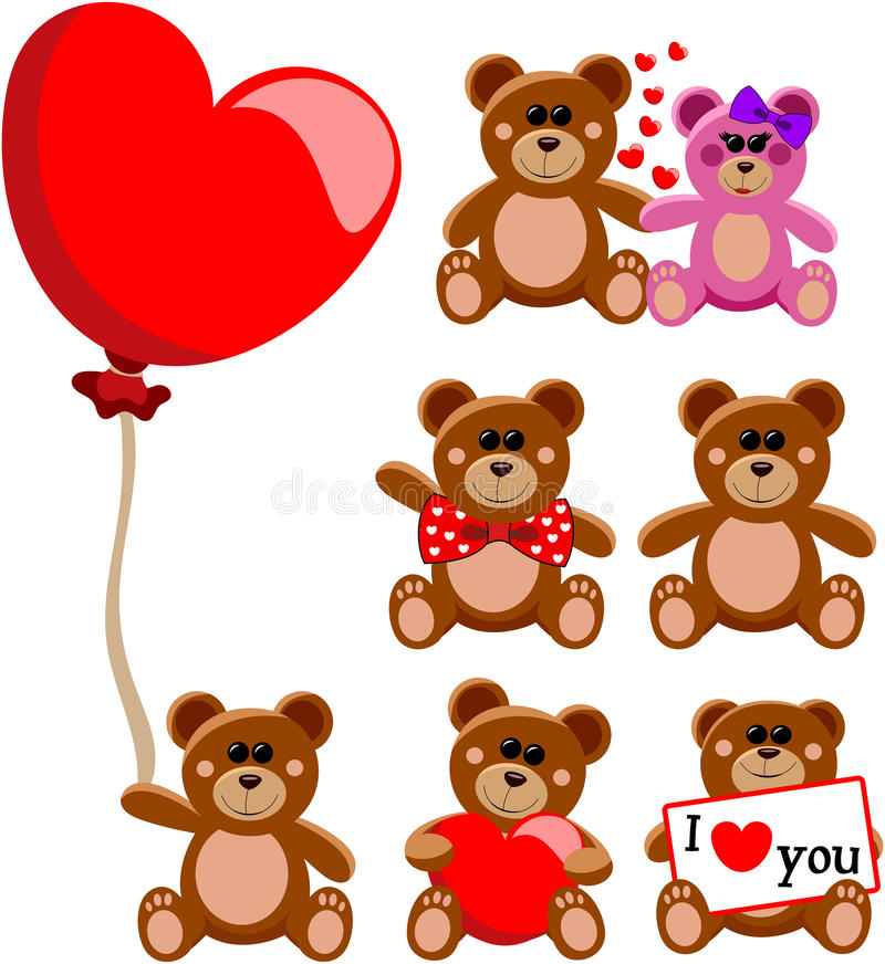 Teddy Bear Valentine Love Collection illustration libre de droits