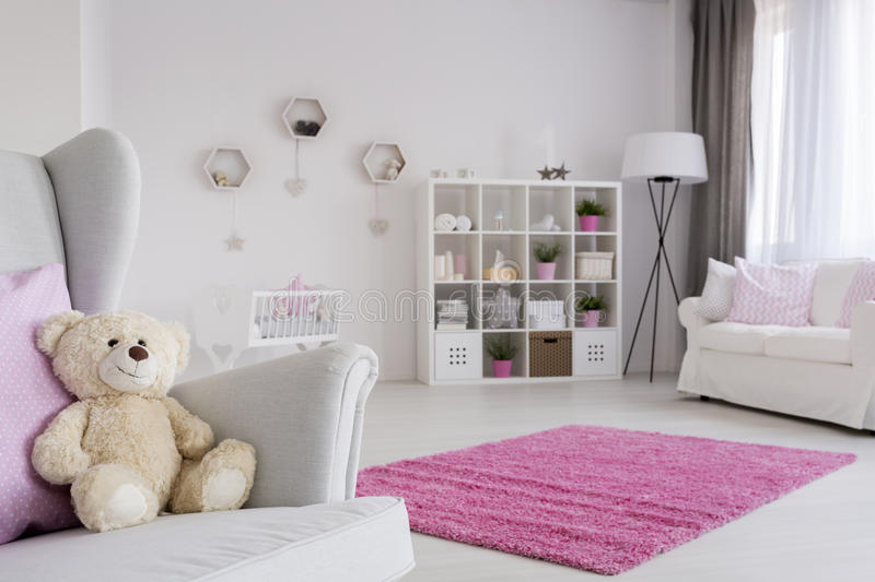 Download Teddy Bear Waiting For A Friend Stock Photo   Image Of Lighted,  Furniture: