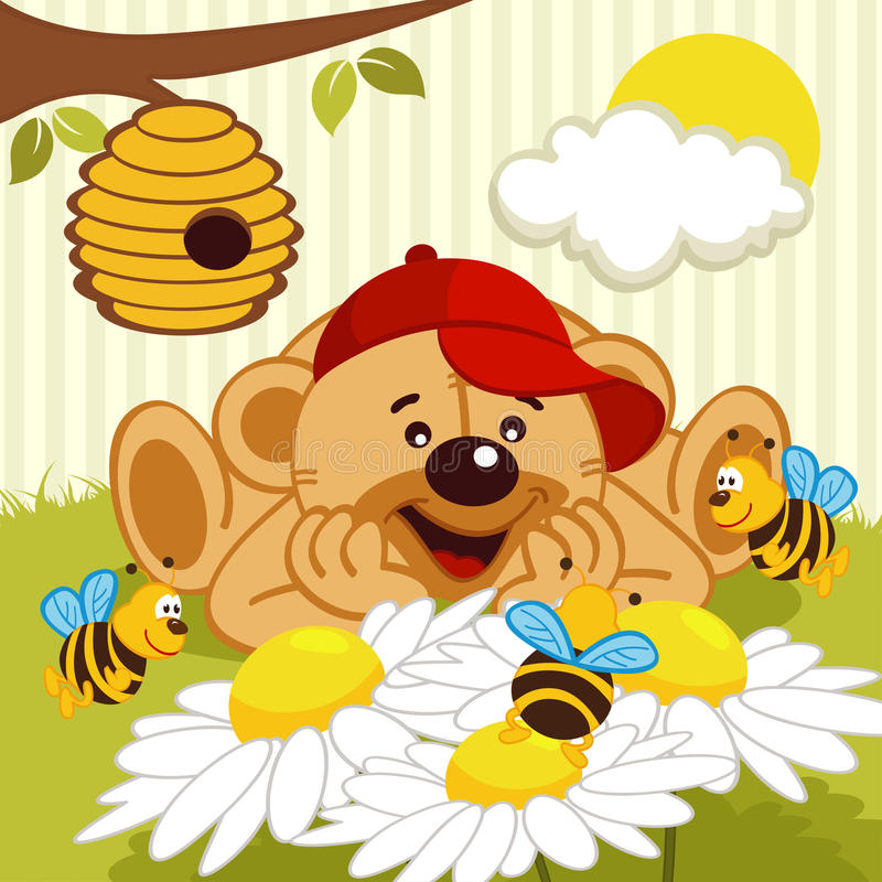 Teddy bear watching bees on daisy royalty free illustration