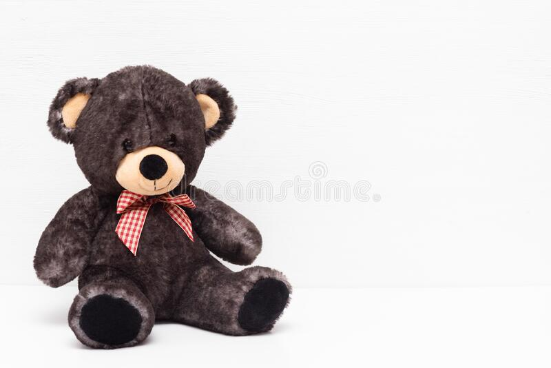 Teddy bear. On the white background with copy space royalty free stock photo
