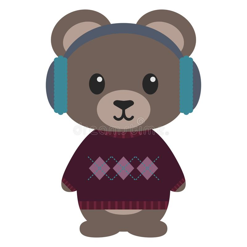 Teddy Bear in Winter Clothes. Teddy bear wearing blue ear muffs and purple sweater with argyle pattern royalty free illustration