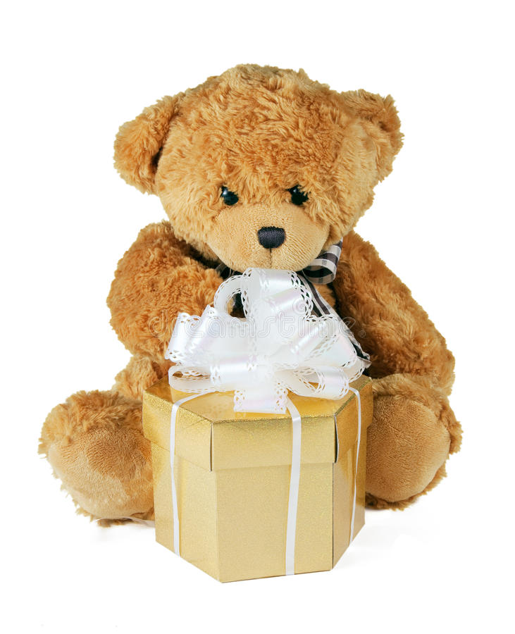 Free Teddy Bear With Gift Royalty Free Stock Image - 14568016