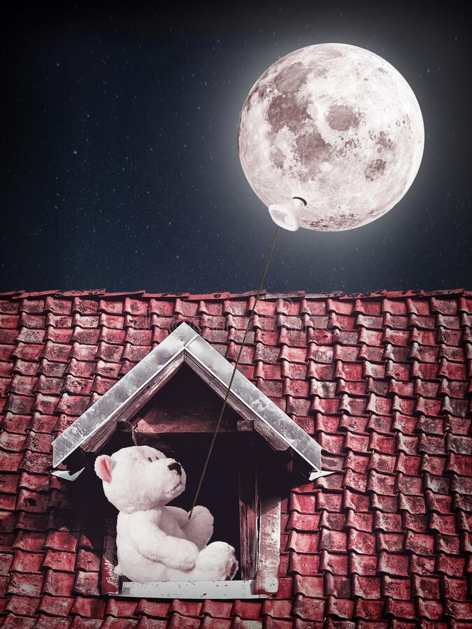 Free Teddy Bear With Moon Balloon Royalty Free Stock Photography - 183413127