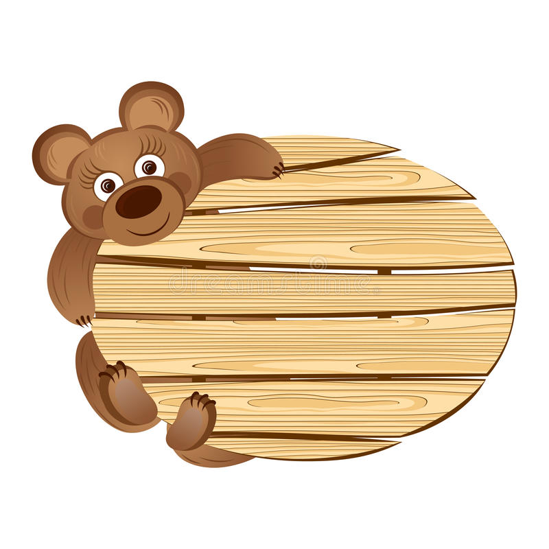 Teddy bear with a wooden signboard. This is file of EPS10 format stock illustration