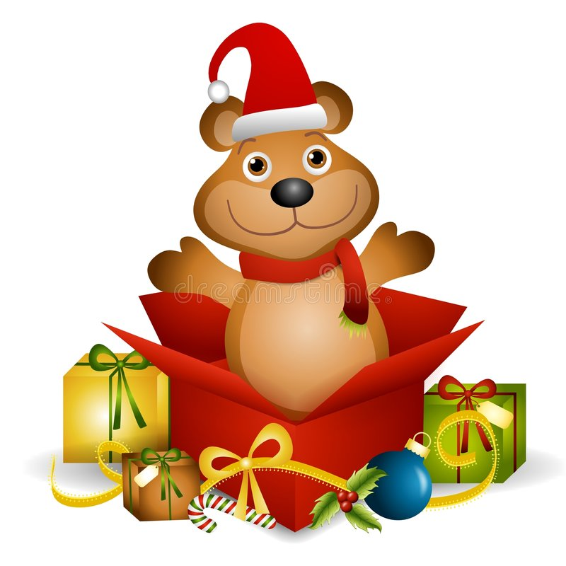 Teddy Bear Xmas Gift. An illustration featuring a teddy bear sitting in an unwrapped Christmas present box stock illustration