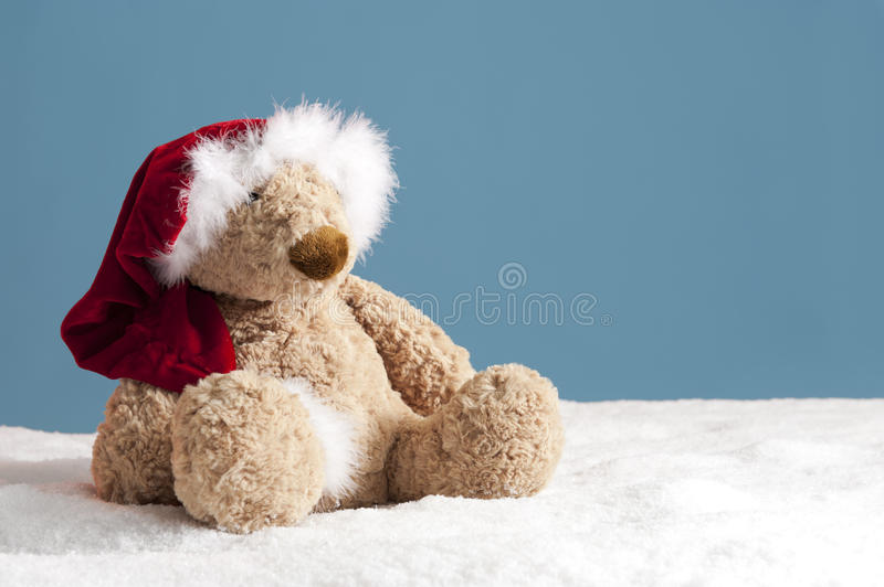 Download Teddy Bear With Xmas Hat In The Snow Stock Image - Image: 26085245
